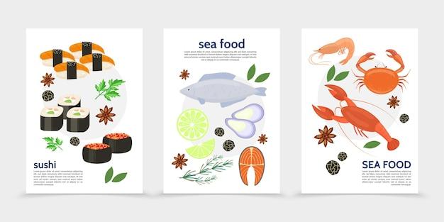 Carteles de comida de mar plana con pescado langosta cangrejo camarones mejillones filete de salmón rollos de sushi hierbas especias