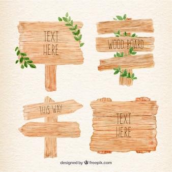 Carteles de madera de acuarela