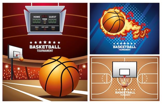 Carteles deportivos de baloncesto con globo y canasta en la corte