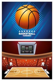 Carteles deportivos de baloncesto con globo en la corte