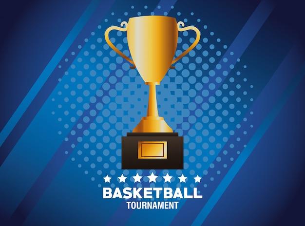 Carteles deportivos de baloncesto con trofeo