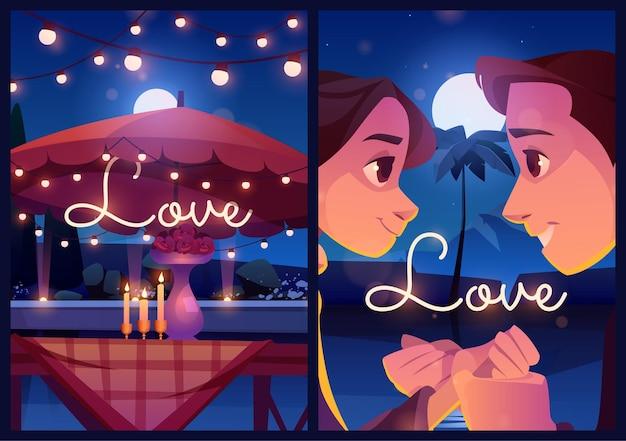 Carteles de dibujos animados de amor de verano pareja citas al aire libre