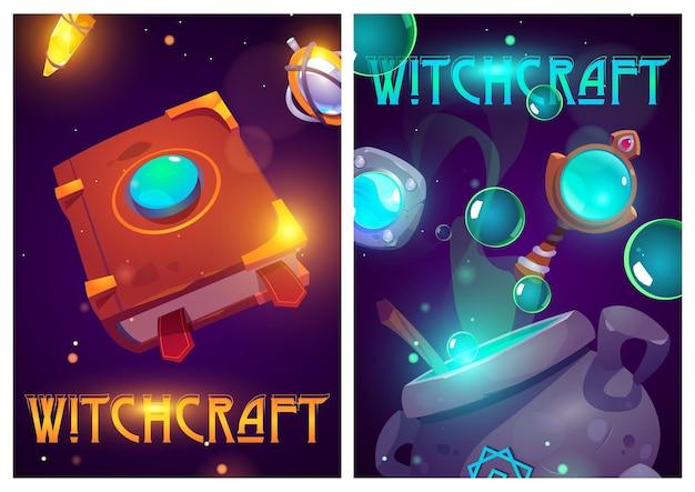 Carteles de dibujos animados de brujería con cosas de mago