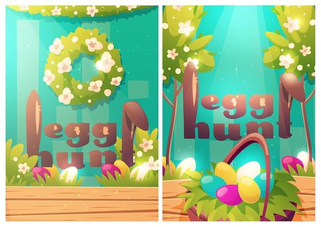 Carteles de dibujos animados de búsqueda de huevos de pascua con orejas de conejo