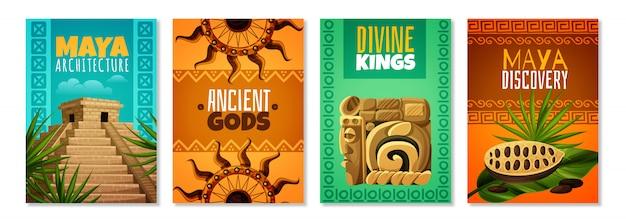 Carteles de dibujos animados de la civilización maya