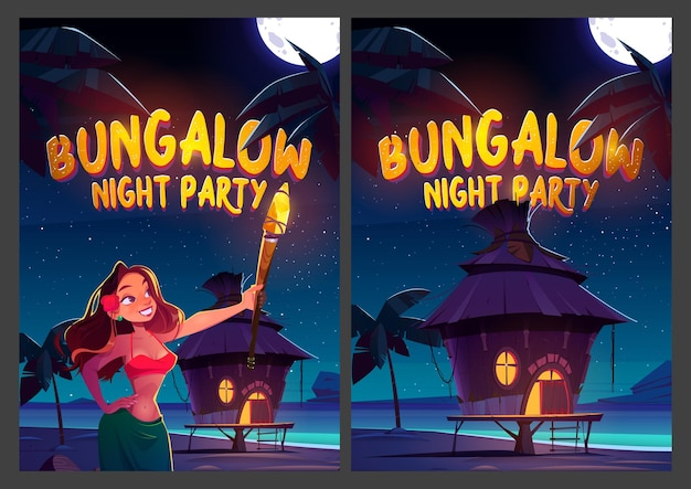 Carteles de dibujos animados de fiesta nocturna de bungalows