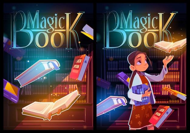 Carteles de dibujos animados de libro mágico, niña en biblioteca