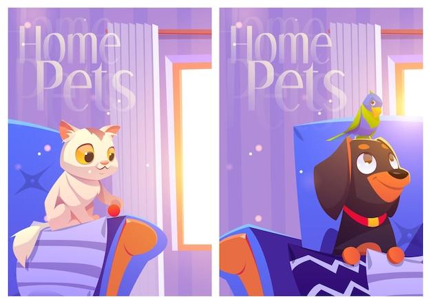 Carteles de dibujos animados de mascotas caseras con perro loro gatito
