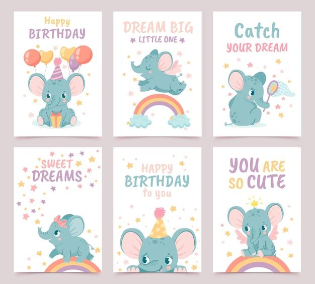 Carteles de elefantes de guardería. decoración de animales para baby shower y tarjetas de cumpleaños de dibujos animados. impresiones de elefantes y arco iris para vector recién nacido con globos. sueña en grande, eres tan lindo