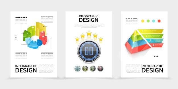 Carteles de elementos de infografía realista.