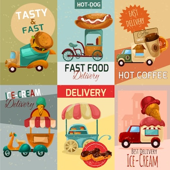 Carteles de entrega de comida rápida