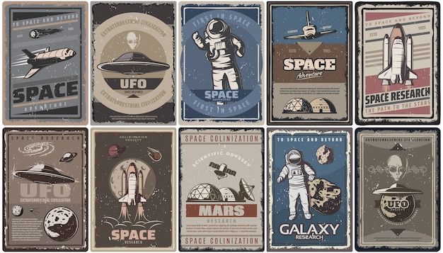Carteles espaciales de colores vintage con naves espaciales ovni planetas astronautas asteroides colonización e investigación de marte aislado