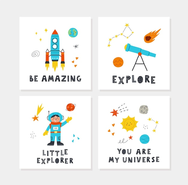Carteles espaciales con lindos cohetes dibujados a mano, planetas, estrellas, niño, telescopio y letras. diseño vectorial para habitación de bebé, tarjetas de felicitación, camisetas.