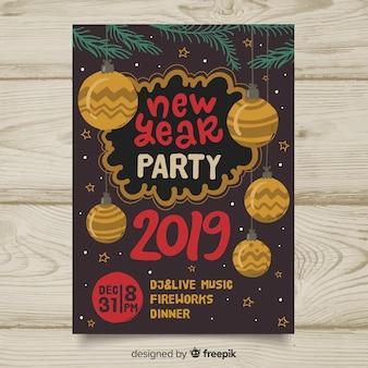 Carteles de fiesta de año nuevo 2019