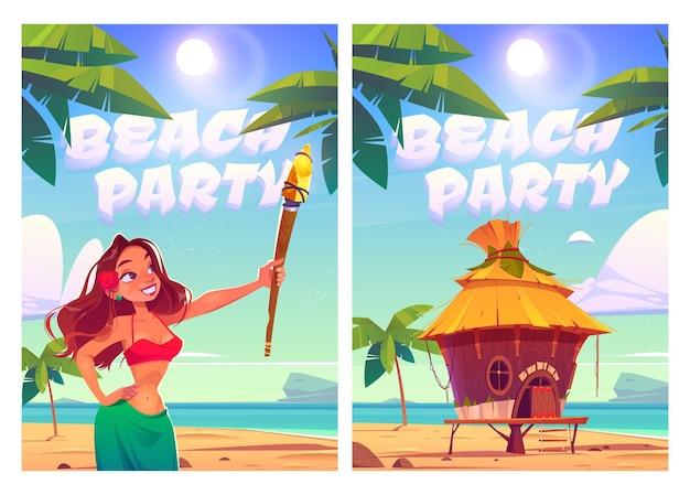 Carteles de fiesta en la playa con mujer y bungalow en la playa.