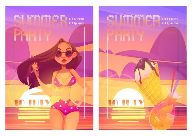Carteles de fiesta de verano con mujer en bikini cóctel y helado