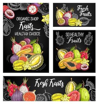 Carteles de frutas exóticas con dibujo de mangostán, papaya e higos, durian con carambola, guayaba, lichi, pitahaya y maracuyá