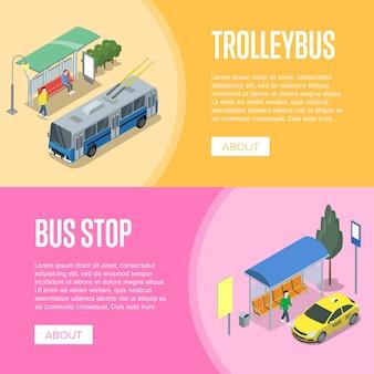 Carteles isométricos 3d de trolebús y estación de autobuses