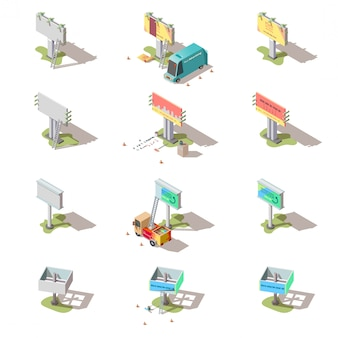 Carteles isométricos, conjunto de pancartas publicitarias