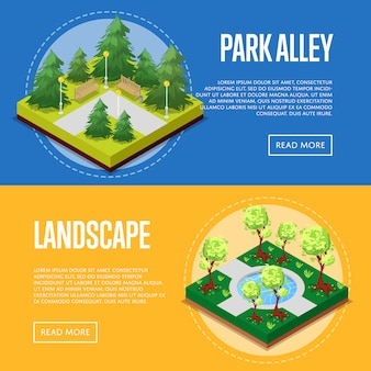 Carteles isométricos del paisaje del parque