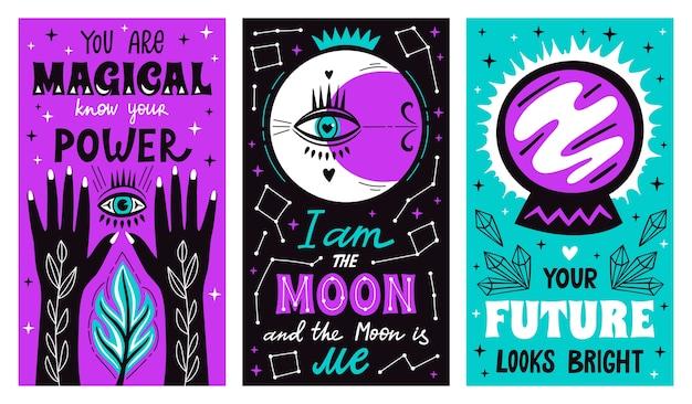 Carteles de letras de bruja mística mágica con brazos dibujados a mano de brujería, luna, estrellas y símbolo futuro.