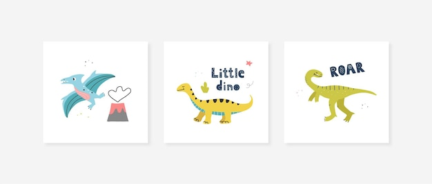 Carteles con lindos dinosaurios. diseño vectorial para habitación de bebé, tarjetas de felicitación, camisetas.