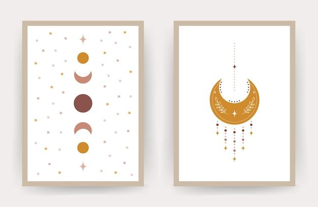Carteles con luna boho abstracto. marco escandinavo