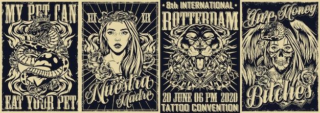 Carteles monocromos de tatuajes vintage