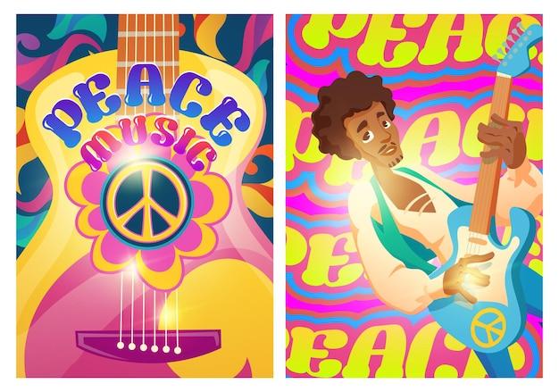 Carteles de música de paz con signo hippie y hombre con guitarra woodstock