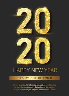 Carteles de navidad y año nuevo con adornos colgantes de oro y plata en 3d y números 2020.