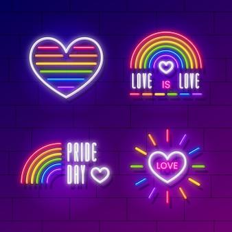 Carteles de neón coloridos del día del orgullo