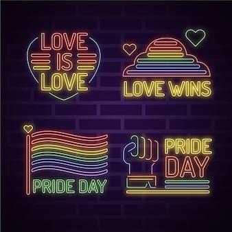 Carteles de neón del día del orgullo