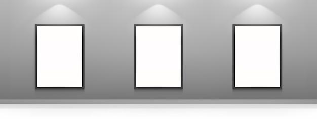 Carteles de películas en blanco, marcos de cuadros blancos