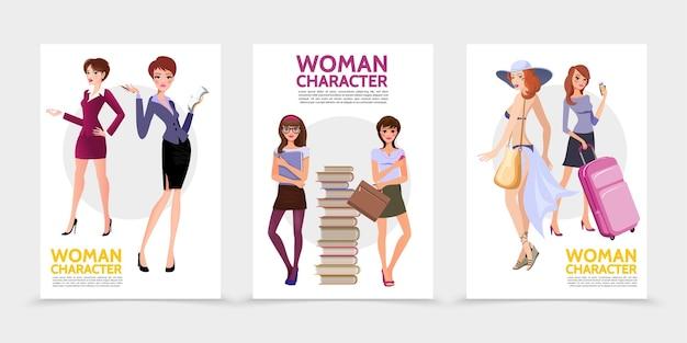 Carteles de personajes de mujer plana con jóvenes estudiantes de secretaria empresaria cerca de la pila de libros