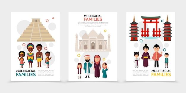 Carteles de personas multirraciales planas con familias multiculturales pirámide taj mahal puertas torres ilustración de lugares de interés nacional
