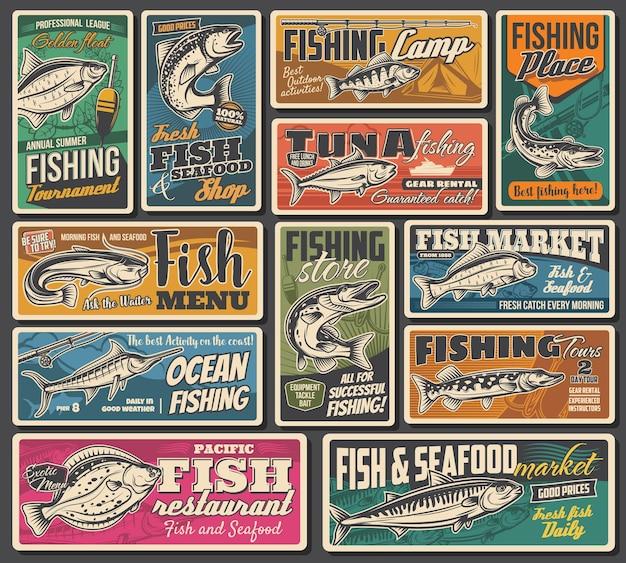 Carteles de pesca, mariscos y mercado de pescado retro.