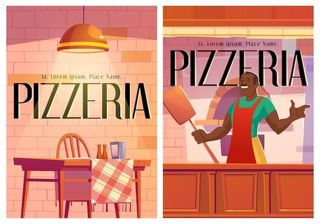 Carteles de pizzería con interior acogedor de café y chef.