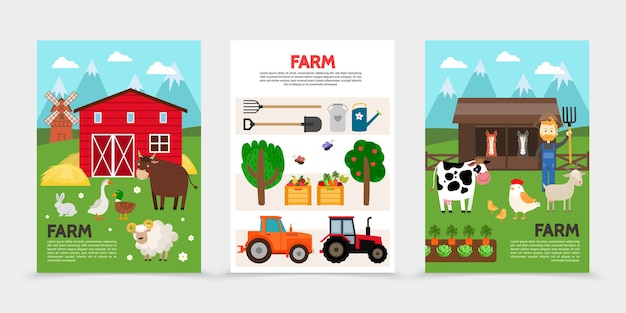 Carteles planos de granja y agricultura.