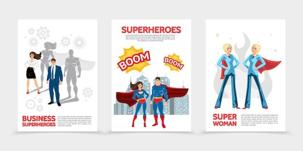 Carteles planos de personajes de superhéroes con superhéroes en disfraces y capas, bocadillos