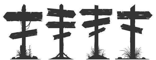 Carteles publicitarios de madera, letreros direccionales y postes indicadores.