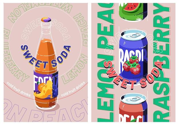Carteles publicitarios de refrescos dulces con botella y lata