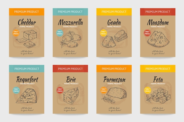 Carteles de queso. boceto vintage de comida gourmet, diseño de menú orgánico, paquete de productos lácteos y queso.
