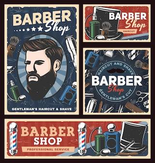 Carteles retro de barbería con postes de peluquería