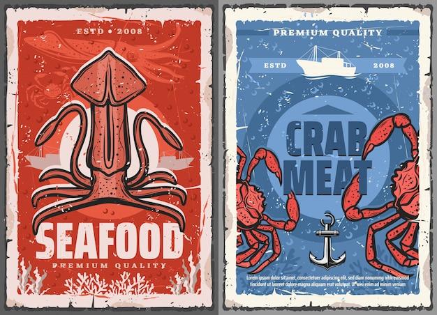 Carteles retro de carne de calamar y cangrejo de mariscos