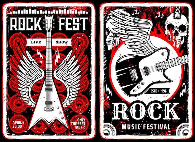 Carteles retro de volantes vintage de música hard rock