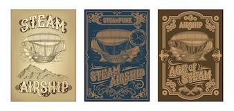 Carteles de steampunk con fantástico barco volador de madera