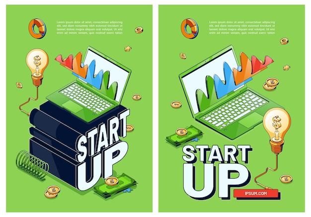 Carteles vectoriales de puesta en marcha de nuevos negocios.