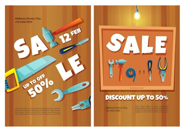 Carteles de venta de herramientas de construcción.