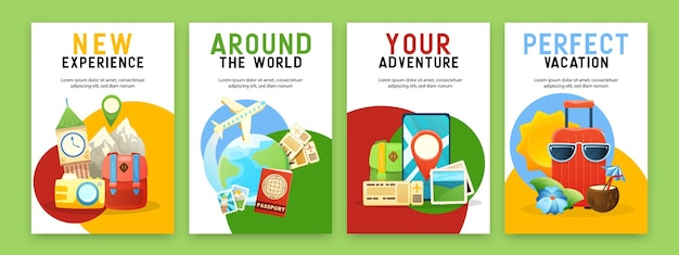 Carteles de viaje con información sobre cruceros por el mundo, lugares famosos, reserva en línea, vacaciones de verano.