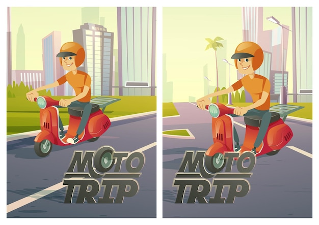 Carteles de viaje en moto con el hombre en scooter en la carretera de la ciudad